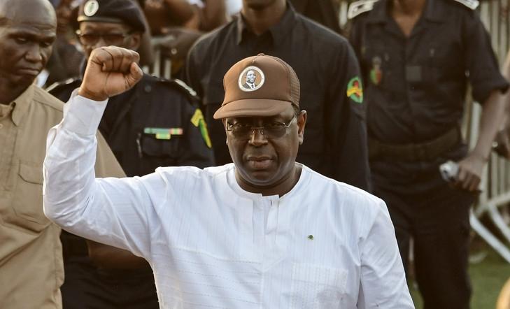 Le président sortant Macky Sall a son arrivee, le 19 février 2019, au meeting au stade Alassane Djigo de Pikine lors de la campagne electorale de la présidentielle 2019 au senegal