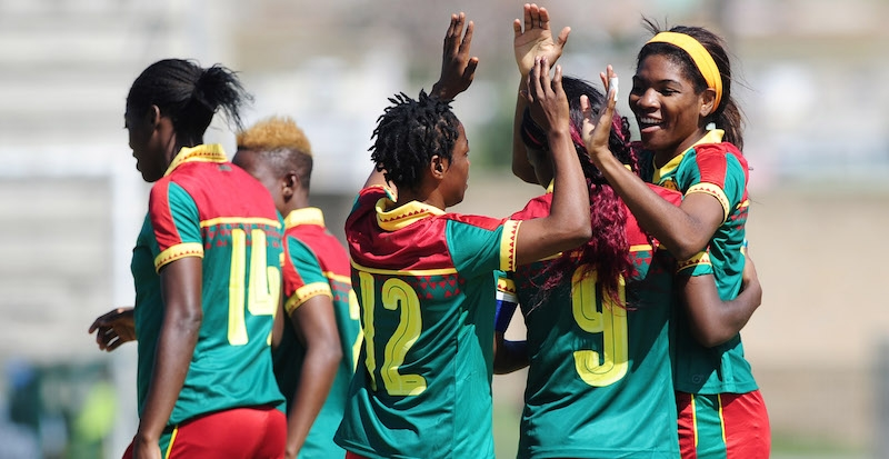 Cameroon players celebrate a goal scored by Raissa Mbappe Etoundi of Cameroon (r) during the 2018 Cosafa Womens Championship game between Cameroon and Mozambique at Wolfson Stadium in Port Elizabeth on 13 September 2018 © Ryan Wilkisky/BackpagePix